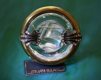 Wonderful Ermani Bulatti Circle Pin with Lucite