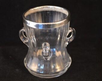 EDWARDIAN GLASS Tyg / Cup with Silver Rim - 1905