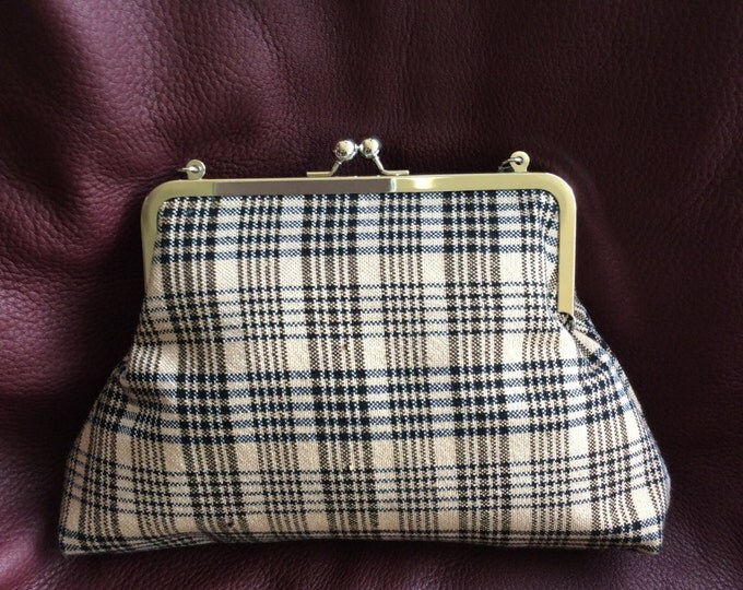 Up-cycled Famous Horse Blanket Black and Tan Plaid Horse Equestrian Clutch Purse Bag