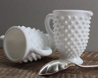 Vintage Fenton Hobnail Milk Glass Cream and Sugar Set