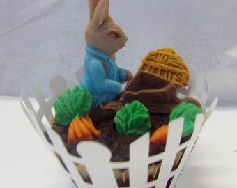 Peter Rabbit Theme Candy Garden Cake Topper-Perfect For Baby Showers/1st Birthday Parties/Easter/Spring/Table Decoration/Candy Buffets/