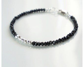 Black spinel and Karen Hill tribe silver bracelet black spinel Karen Hill Tribe silver handmade semiprecious stone stacking bracelet