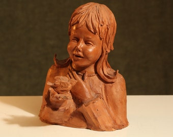Laura PAOLETTI Ceramic Garden Statue Clay Sculpture Lil Girl & Bird Yard Art Signed