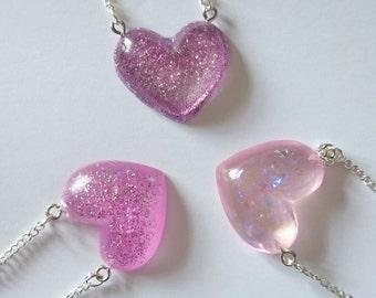 Medium resin heart necklace