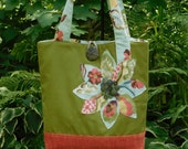 Womens Tote Bag, Fabric Tote, Large Tote, Green Tote Bag, Orange Tote Bag, Messenger bag, Green Handbag, Fabric Handbag, Blue Tote, Tote Bag