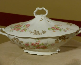 Antique Homer Laughlin The Angelus Pattern Vegetable Bowl with Lid