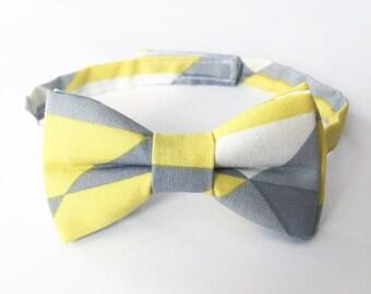 Bow Tie - Gray/Yellow Colorblock, kids, toddler, baby, newborn, gift, wedding, shower