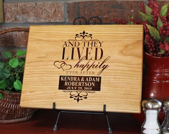 Personalized Cutting Board And They Lived Happily Ever After Lasered Engraved Wedding Present Anniversary Gift Custom Bridal Shower Gift