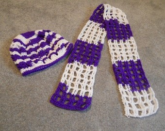 Crocheted Team Colors Purple/White or Crimson/White Teen/Woman's Infinity Scarf or Open End Scarf/Wrap  for Sports Team/College/School/Etc.
