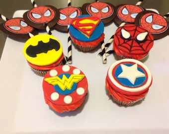 14 Fondant mixed super hero cup cake toppers.