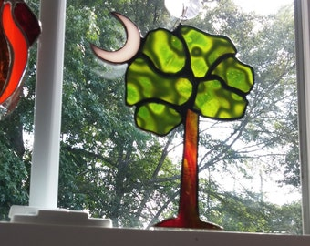 Stained Glass SC Tree with Moon