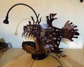 angler fish lamp, metal garden sculpture, Sea Monster, 3D sculpture, made in the USA