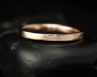 Kelsie F - Solid 14k Rose Gold Wedding Band, 2mm Wide, Flat, High Polish, Right Hand Ring, Stackable, Classic Style, Free Shipping