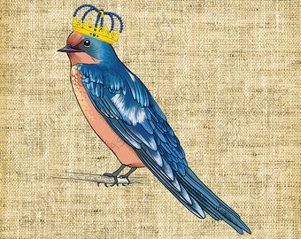 Blue Bird with Crown/Sassy/Vintage Image/Clipart/Decoupage/Crafts - INSTANT DOWNLOAD