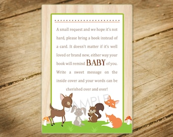 woodland animals baby shower invitation forest animals nature theme insert bring a book