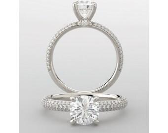 Moissanite Engagement Ring| Diamonds| White Gold Yellow Gold Rose Gold Platinum| Modern Bridal