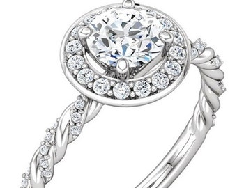 Moissanite Engagement Ring| Twist Rope Design| Diamonds| Gold or Platinum| Halo Style
