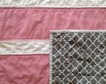 SALE** Pink and Grey Baby Quilt