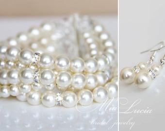 Wedding Jewelry Set, Swarovski Pearl Bridal Jewelry Set, Pearl Necklace Earrings Bracelet Set, Cuff Bridal Bracelet  art. e39-b11