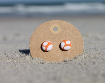 "1/2"" Orange and White Button Earrings"