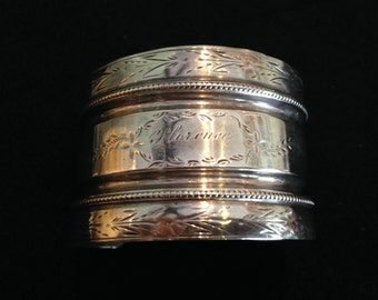 "Vintage Silver Plated Etched Cuff Bracelet ""Florence"""
