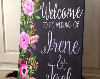 Wedding Welcome Sign  - Wedding Reception Sign - Wedding Ceremony Sign - Floral Wedding Sign  - Reception Sign - Custom Wedding Sign