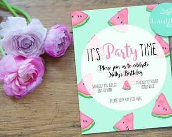 Watermelon Printable Birthday Invitation
