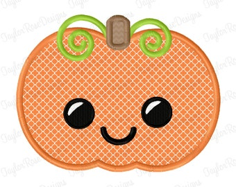 Happy Pumpkin Applique Machine Embroidery Design 4x4 5x7 6x10 Halloween Fall Thanksgiving INSTANT DOWNLOAD