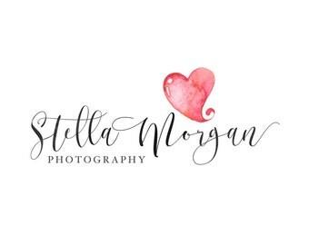 Photography logo, premade logo design, hart logo, watercolor logo, watermark n11
