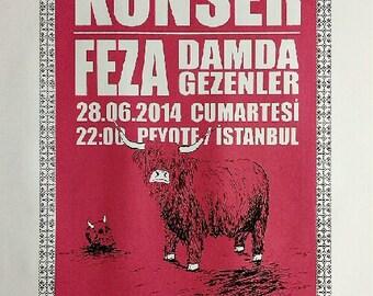 Feza and Damda Gezenler screenprint gig poster