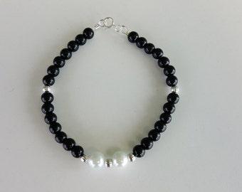 Bohemian Black Onyx Glass Pearl Beaded Bracelet
