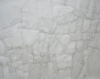 Original Large White Drawing, Achromatic Ink Fine Art, Abstract Contemporary Drawing, Ink on Paper, Modern Art