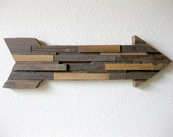 "Reclaimed Barn Wood Arrow Wall Art Abstract, Contemporary Simplicity, Rustic Elegance -- 33.25"" Wide!"