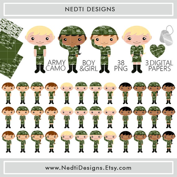 36 Army Camo Boy Amp Girl Clip Art Digital Clipart Set Png