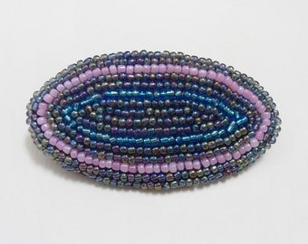 Beaded french clip, Beadwork barrette, Blue pink beads