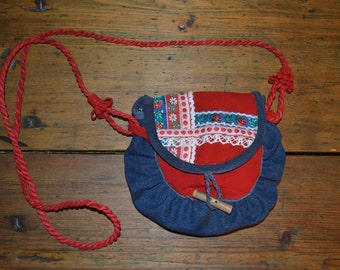 Saami bag. Cross body purse.Red. Reindeer leather&jeans