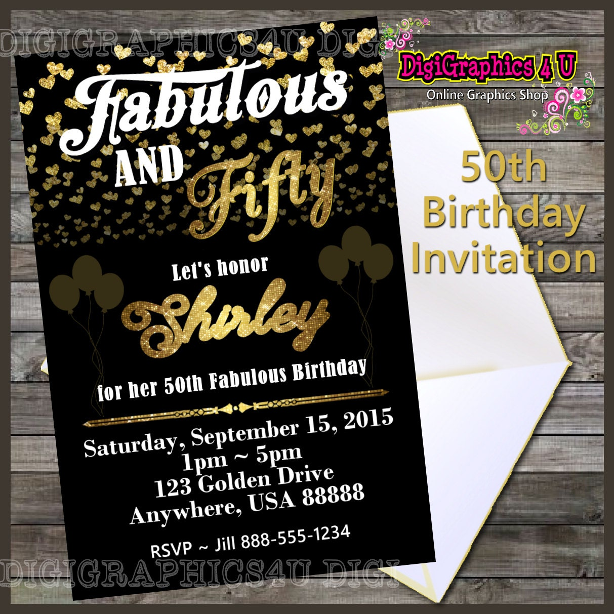 Printable Personalized Fabulous And Fifty 50th By