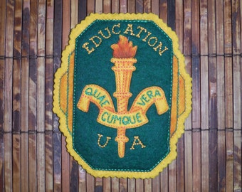 Vintage 1950's Varsity Education Letterman Patch - Vintage 1950's Collage Felt Patch - Vintage Education U.of A. Patch - Vintage  Felt Patch