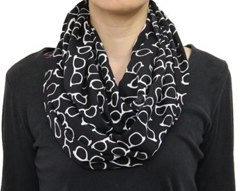 Cute Glasses/ Sunglasses / Sunglass Print  Soft Infinity Circle Scarf Black