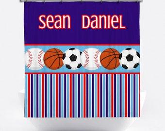 Sports Shower Curtain - Boys' Personalized Shower Curtain - Custom Shower Curtain with Monogram - Sports Bath Decor