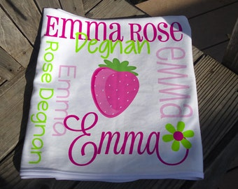 Personalized Strawberry Baby Blanket - Receiving Blanket for Girls - Custom Berry Baby Blanket - Newborn Swaddling Blanket - Baby Photo Prop