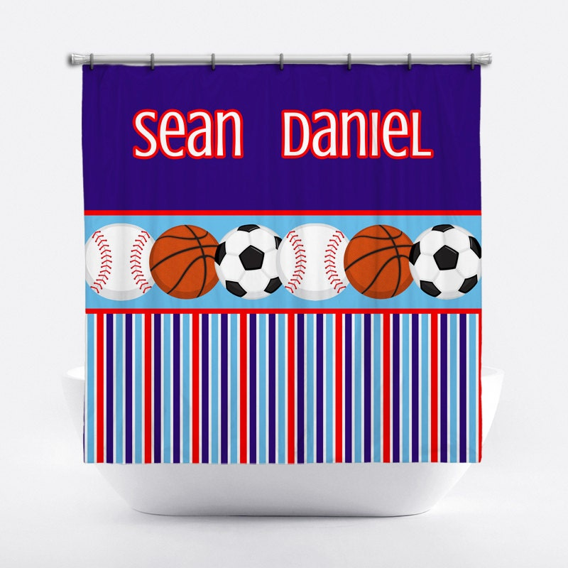 sports shower curtain boys 39 personalized shower curtain