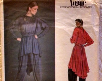 Gianni Versace Vogue Sewing Pattern #2702 Misses Tunic, Sash & Pants Size 12 Uncut  1980's Pleated Harem Pants