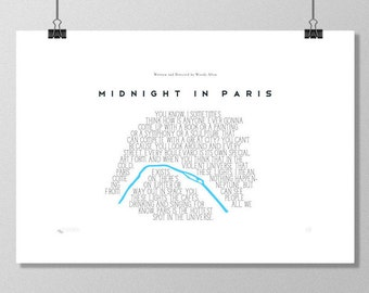 "MIDNIGHT IN PARIS Inspired Woody Allen Minimalist  Movie Poster Print - 13""x19"" (33x48 cm) - Limited Edition 100 Print Run"