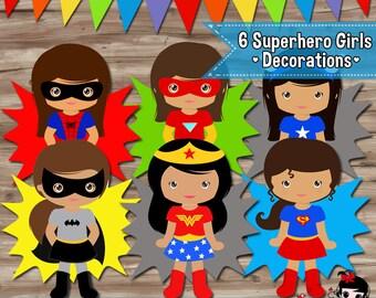 Superhero Girls Party Decorations, Superhero Brown Skin Girl Supplies Superhero Party Printables - Digital PDF File INSTANT DOWNLOAD