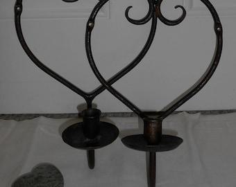 Vintage Handcrafted Heart Candle Sconce Set