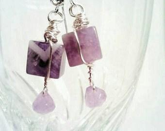 Amethyst Cube Earrings, Purple earrings, February birthstone earrings, Amethyst earrings, Gemstone earrings, Purple amethyst earrings