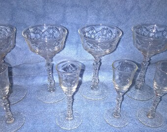 Set of Eight Molded Glass Drinking Glasses - Wine and Cordial