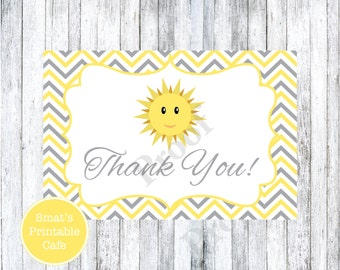 You Are My Sunshine Thank You Cards - PRINTABLE Sun Shine Baby Shower Theme - Gender Neutral - Stationary