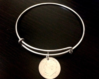 Dime bangle bracelet, dimes, coin bracelet, good luck charms, lucky bracelet, coin jewelry, dime jewelry